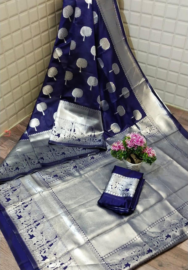 Blue Pure Lichi Soft Silk Saree With Silver Zari And Designer Blouse