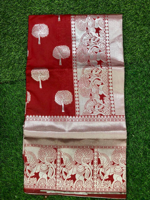 Red Pure Lichi Soft Silk Saree With Silver Zari And Designer Blouse
