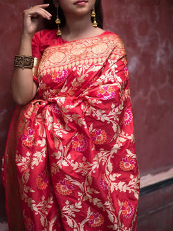 Red Pure And Elegant Look Lichi Soft Silk Rich Pallu With Jacquard Blouse
