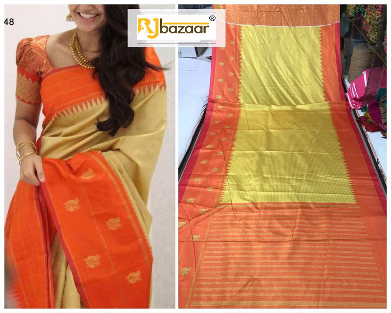 Soft And Smooth Golden Zari Satin With Beautiful Saree And Blouse
