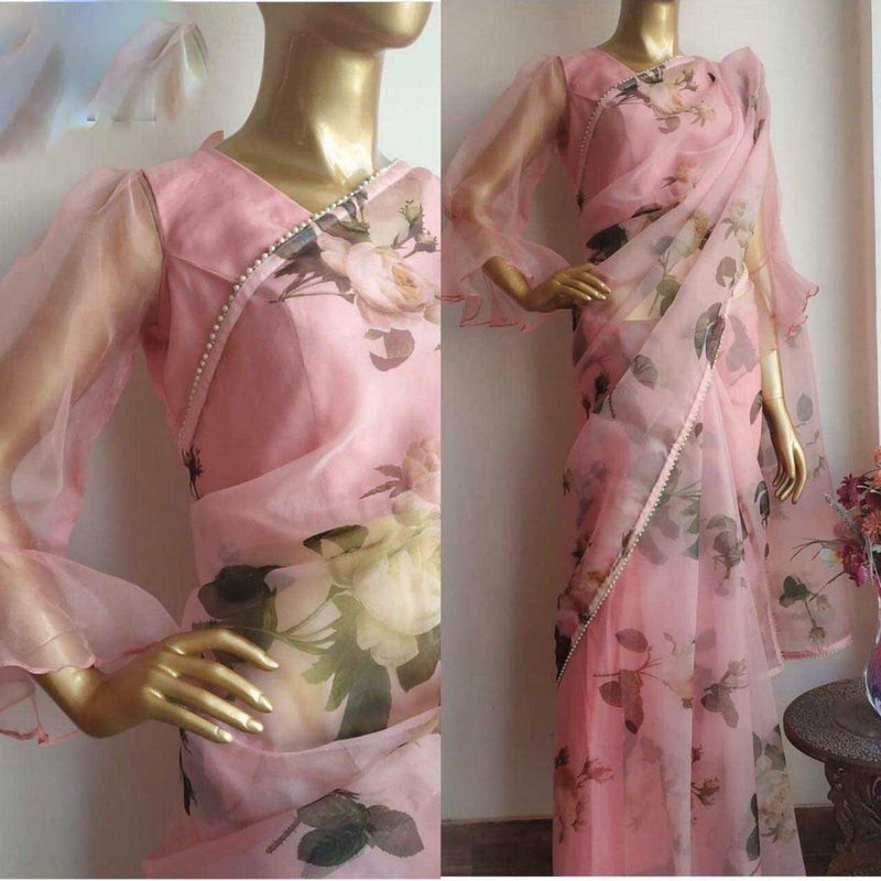 Pure Organza Rich Digital Floral print and Shinning Lace With Saree