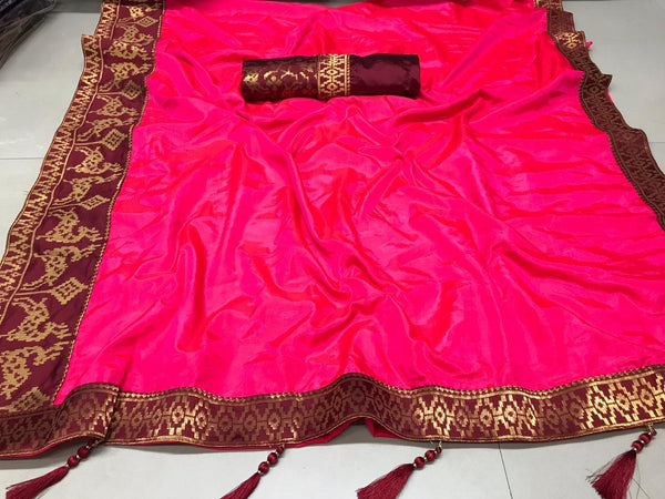 Heavy Sana Silk Saree With Rich Zari Weaving border and Blouse