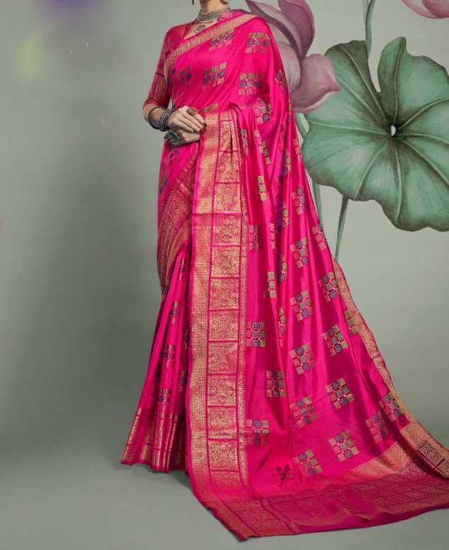 Banasari Hand loom Weaving Patola Silk Saree With Contrast Weaving Blouse