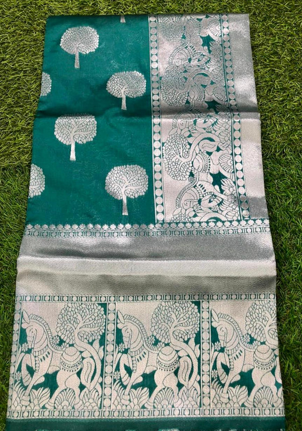 Green Pure Lichi Soft Silk Saree With Silver Zari And Designer Blouse