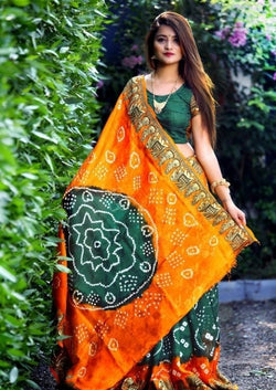 Causal Wear Art Silk With Heavy Waving Bandhani saree