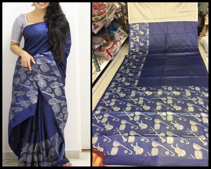 Top Designs Digital Printed Smooth Saree  Light Blue