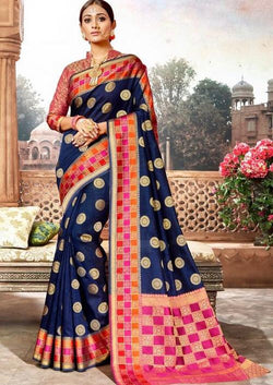 Crystal Handloom Weaving Silk  Blue Saree