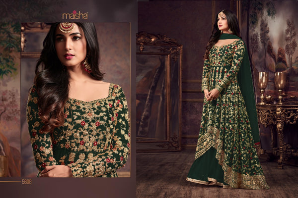 Heavy Net with Embroidery work With Cording Work Green Colour Gown