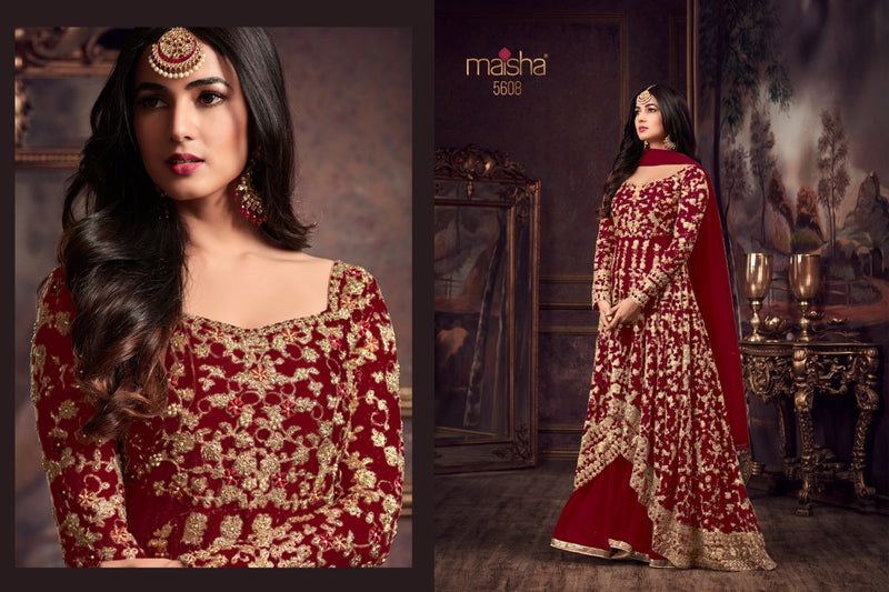 Heavy Net with Embroidery work With Cording Work Red Colour Gown