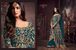 Heavy Net with Embroidery work With Cording Work Dark Rama Colour Gown