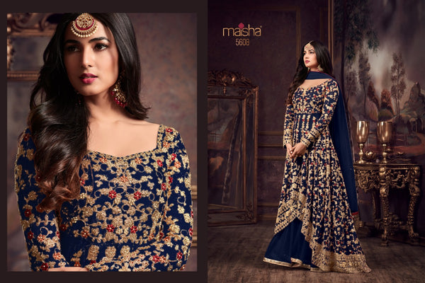 Heavy Net with Embroidery work With Cording Work Blue Colour Gown