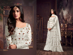Heavy Net with Embroidery work With Cording Work Off White Colour Gown