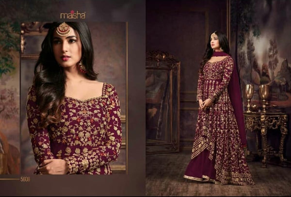 Heavy Net with Embroidery work With Cording Work Purpal Colour Gown