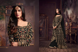 Heavy Net with Embroidery work With Cording Work Black Colour Gown