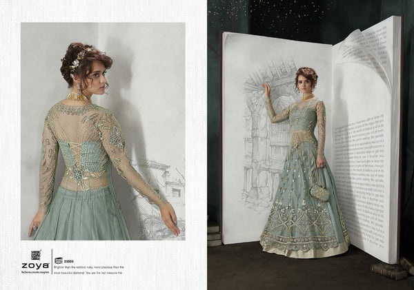 Embroidery  work And ston work Gray Colour Gown