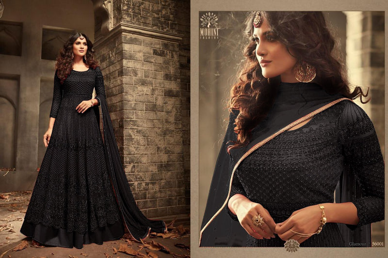 Fancy Heavy Net With Embroidery With Sequence Work Black Colour Gown