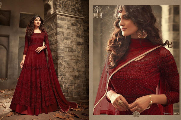 Fancy Heavy Net With Embroidery With Sequence Work Maroon Colour Gown