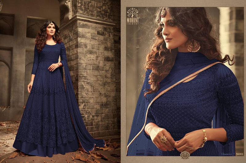 Fancy Heavy Net With Embroidery With Sequence Work Blue Colour Gown