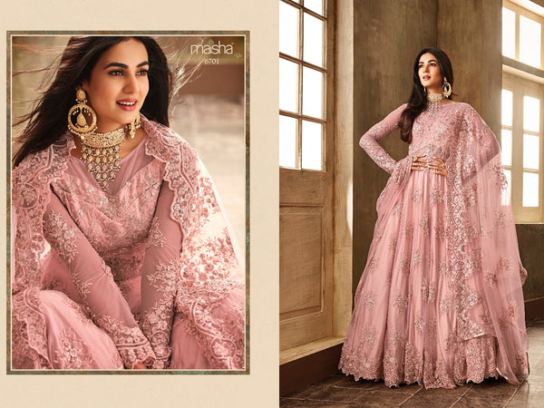Heavy Net with Embroidery work Light Pink Gown