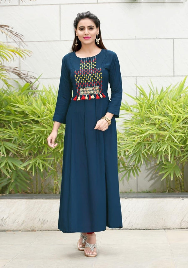 Heavy Slub Rayon Full Steach Dark Blue Colour Kurti