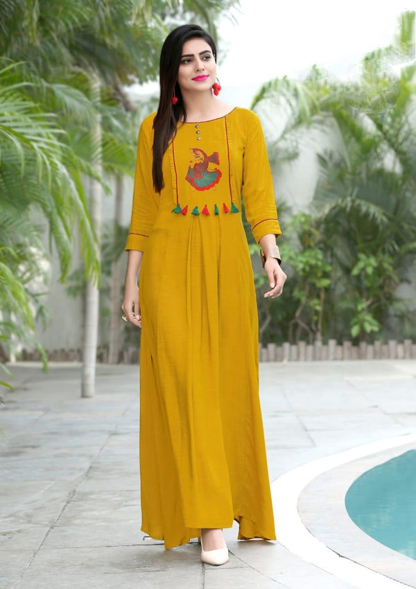 Heavy Slub Rayon Full Steach Yellow Colour Kurti