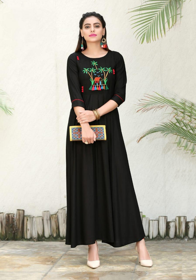 Heavy Slub Rayon Full Steach Black Colour Kurti