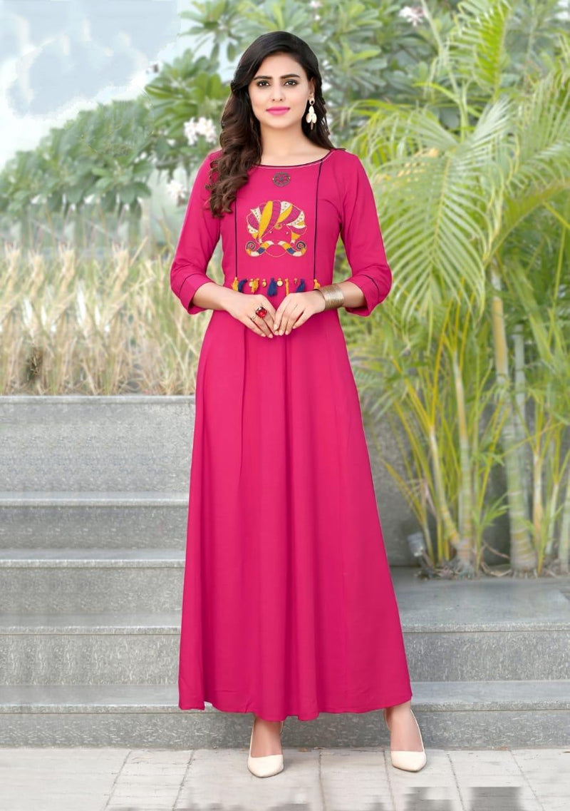 Heavy Slub Rayon Full Steach Dark Pink Colour Kurti