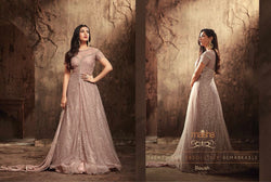 Heavy Net with Embroidery work Gray Colour Gown