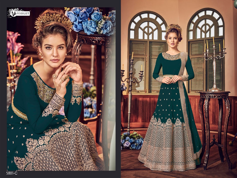 Heavy Georgette Embroidery With Stone Work Dark Rama Colour Gown