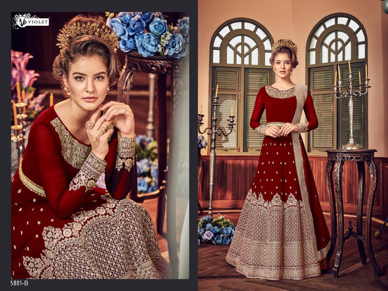 Heavy Georgette Embroidery With Stone Work Maroon Colour Gown