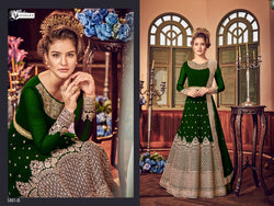 Heavy Georgette Embroidery With Stone Work Green Colour Gown