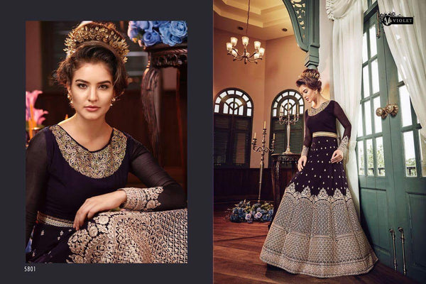 Heavy Georgette Embroidery With Stone Work Purpal Colour Gown