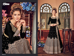 Heavy Georgette Embroidery With Stone Work Black Colour  Gown