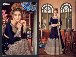 Heavy Georgette Embroidery With Stone Work Navy Blue  Colour Gown