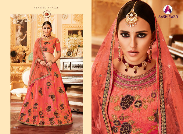Padmavati Lehngas With Melbourne Silk  Orangered Colour Lehegha