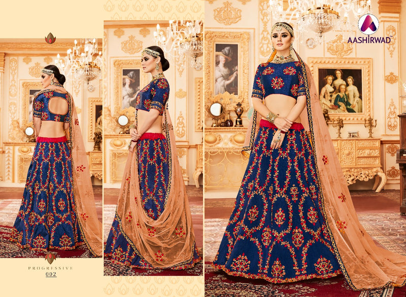 Padmavati Lehngas With Melbourne Silk Blue Colour Lehegha