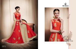 Satin Silk  With Embroidery Patch Buta And Stone Work Orangered Colour Gown