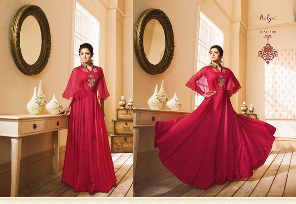 Heavy Embroidery Work Red Colour Gown