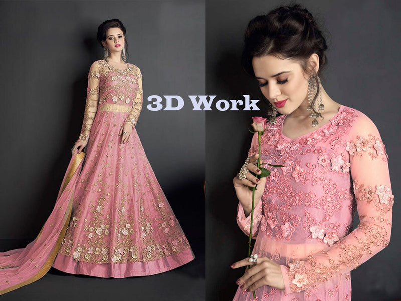 Heavy Net with Embroidery With Patch Work Light Pink Colour Gown