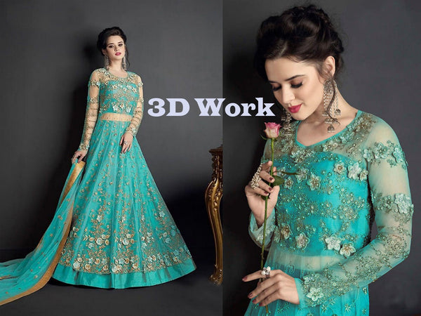 Heavy Net with Embroidery With Patch Work Island Blue Colour Gown