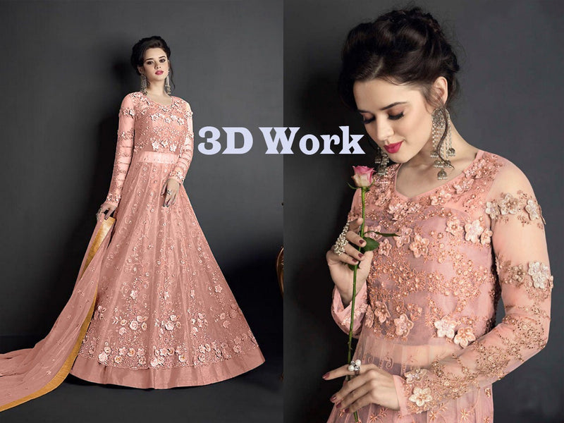Heavy Net with Embroidery With Patch Work Off White Pink Colour Gown