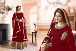 Benglori Silk with Codding  Siqwans Embroidery work Colonail Red Colour Gown