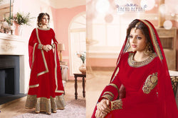 Benglori Silk with Codding Siqwans Embroidery work Red Colour Gown
