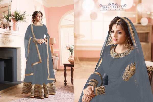 Benglori Silk with Codding Siqwans Embroidery work Dark Gray Colour Gown