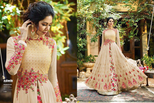Georgette With Embroidery Work And Handwork Cream Colour Gown