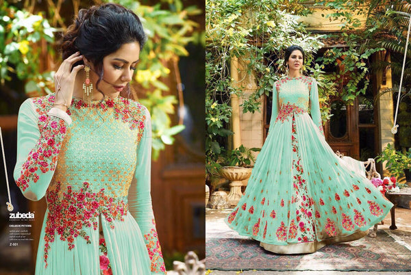 Georgette With Embroidery Work And Handwork Island Blue Colour Gown