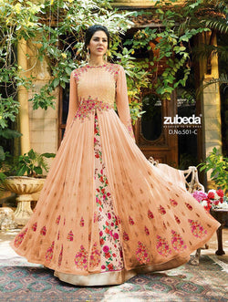 Georgette With Embroidery Work And Handwork Metallic Copper Colour Gown