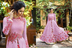 Georgette With Embroidery Work And Handwork Off White Pink Colour Gown