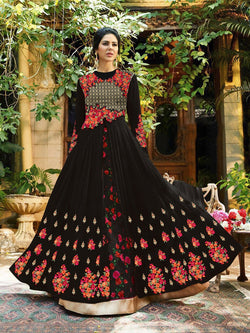 Georgette With Embroidery Work And Handwork Black Colour Gown