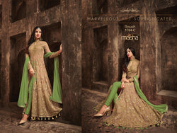 Heavy Net With Embroidery Work With Siquence Cream And Light Parrot Colour Dress